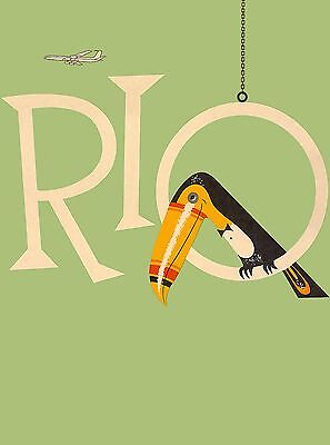 Rio de Janeiro Brazil Toucan South America Vintage Travel Advertisement Poster