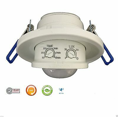 Recesed PIR Infrared Motion Sensor Ceiling Indoor 360 Degree NEW 2 Year Warranty