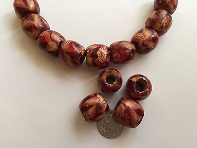 "30 pcs 19"" Deep Brown & Red Leaf Pattern 16mm Barrel Large Hole Wood Beads"