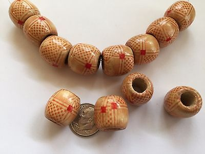 """30 pcs 19"""" Beige & Red Checkerboard Pattern 16mm Barrel Large Hole Wood Beads"""