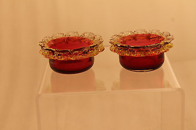 Antique Pair of Salt Cranberry Art Glass with Amber & Clear Lace Trim