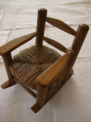 "Vintage Brown Wood Rocking Chair 6"" Tall 1:12 Scale Wicker Doll House Furniture"