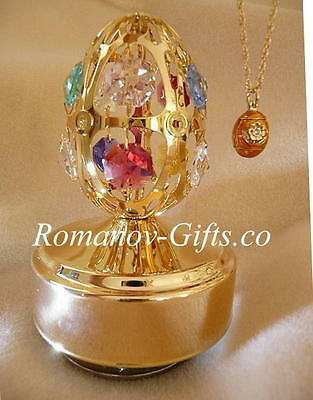 """Wizard of Oz Musical gold Egg plays""""Over the Rainbow"""" & FABERGE Egg Necklace"""