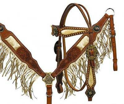 Showman Argentina leather gold fringe HS & B/C set with star conchos! Horse Tack