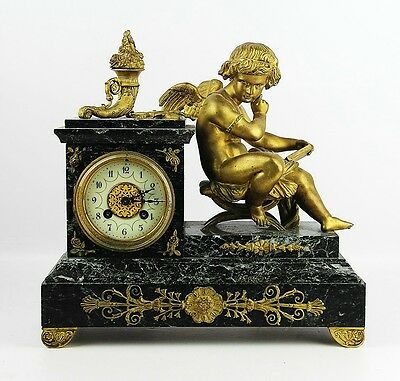 "ANTIQUE FRENCH HIGH QUALITY 19th CENTURY MANTEL BRONZE CUPID CLOCK 13"" TALL"
