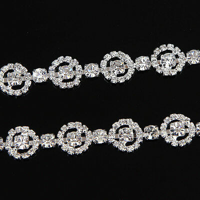 1 Yd Silver Clear Glass Rhinestone Applique Trimming Chain Trims Sewing Crafts