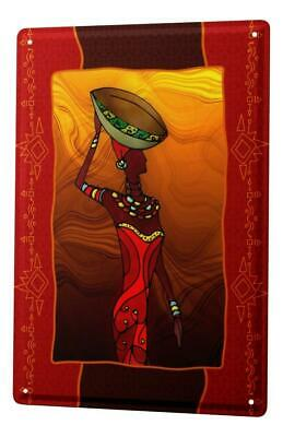 Tin Sign World Tour  African woman clay pot on his head Metal Plate 8X12