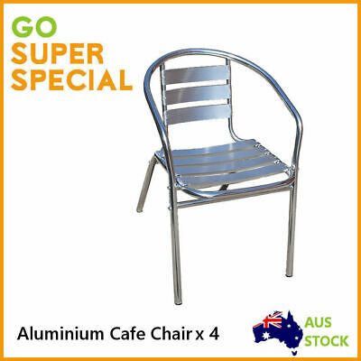 4 pcs Aluminium Cafe Chair, Seater Sitting Bench Stackable Outdoor Indoor Chairs