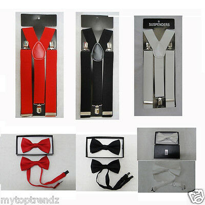 Men's Plain 35mm Wide Trouser Braces Suspender & Dickie Bow Tie Set [UK SELLER]