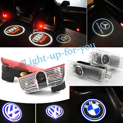 2 X LED Car Door Welcome Logo Ghost Shadow Light For VW Benz BMW Audi Laser Lamp