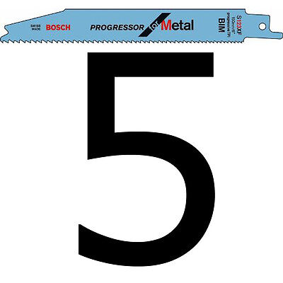 5 Bosch S123XF Spare Blades for METAL fits Florabest Garden Reciprocating Saw