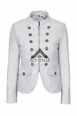 'VICTORY' Ladies White Military Parade Style Soft Real Lamb Leather Jacket 8976