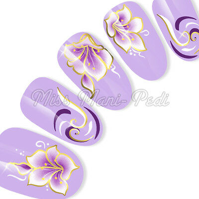 Silver or Gold Nail Art Water Decals Transfers Stickers Purple Flowers & Swirls