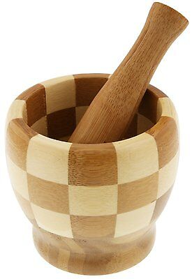 Solid Wood Bamboo Herb grinder Spice crusher Bowl Mortar and Pestle Wooden