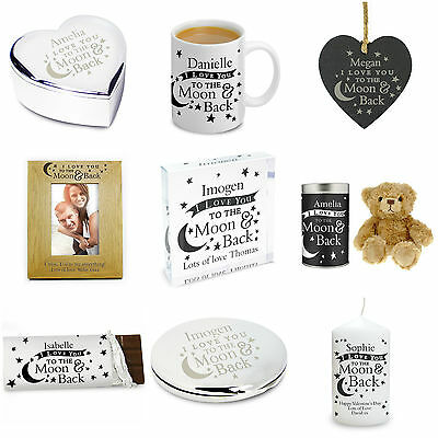 PERSONALISED I Love You To The Moon And Back Gifts for Her Him Birthday Xmas