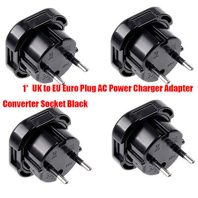 Travel UK to EU Euro Plug AC Power Charger Adapter Converters Socket Black