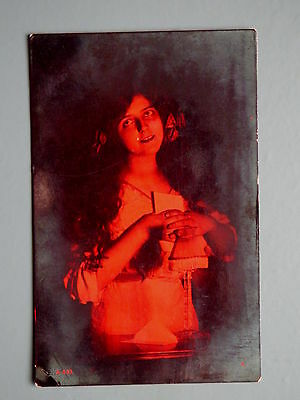 R&L Postcard: Rotary Glamour Woman, Edwardian, Red Toned Real Photo