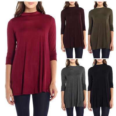 USA Women New 3/4 Sleeve Tunic Top Mock Neck Dress A-Line  Solid Loose S M L