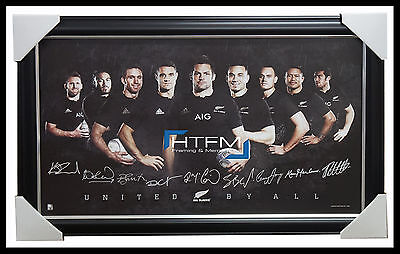 2015 World Cup All Blacks New Zealand Official Rugby Signed Print Framed Carter