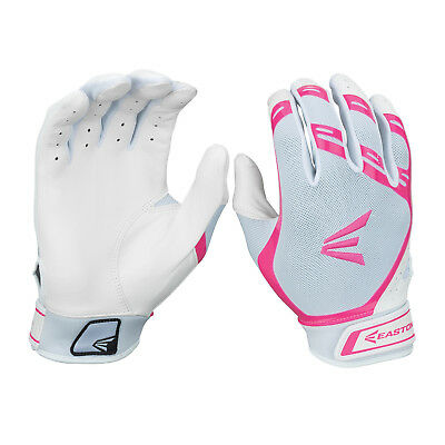 Easton HF7 Hyperskin Women's Fastpitch Batting Gloves - White/Pink - Large