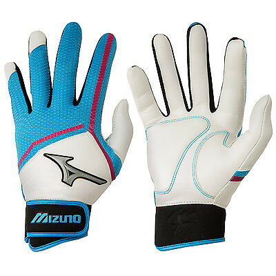 Mizuno Finch Women's Fastpitch Softball Batting Gloves - Blue/Pink - Medium