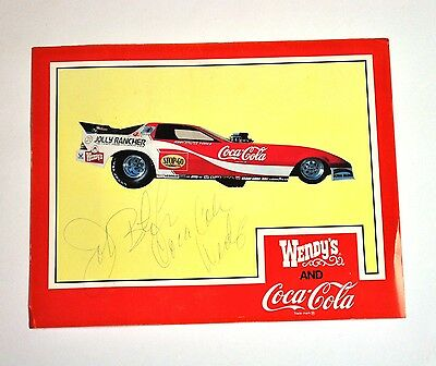 Coca-Cola Coke Wendy's USA John Force Drag Car Racing Autogramm Karte Autograph