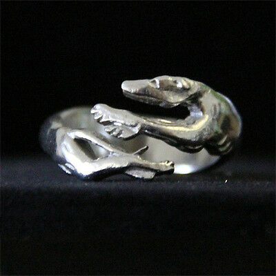 Pewter Greyhound Ring - Whippet Jewelry
