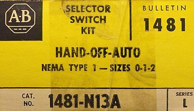 Allen Bradley Size 0-2 Hard Off Auto Selector Switch Kit 1481 N13A