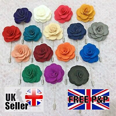 New Mens Womens Silk Button Hole Flower Lapel Pin Boutonniere Stick Rose Corsage