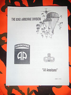 """New """"History Of The 82nd Airborne Division"""" Handout - 1993 - Free Shipping"""