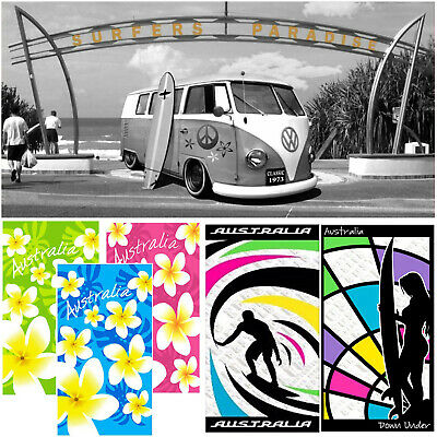 Australia Themed Beach Towel Size 75x150cm - Many to Choose from - Gift Idea!
