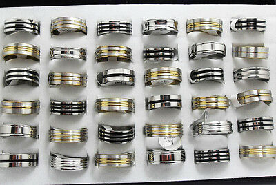 50x Gold Black Silver Mixed Stainless Steel Rings Men's Fashion Jewelry Job Lots