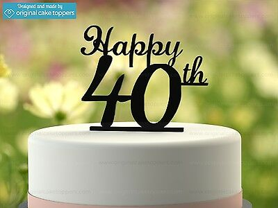 """""""Happy 40th"""" - Black - 40th Birthday Cake Topper  - Made by OriginalCakeToppers"""