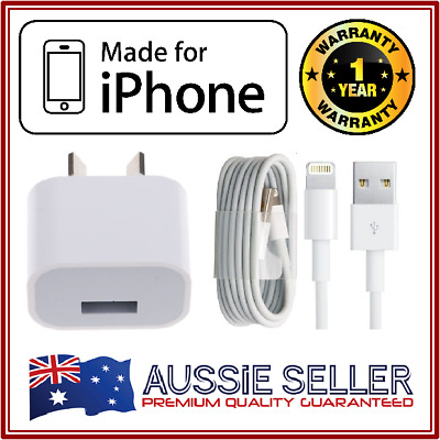 Apple iPhone Wall Charger - iPhone 7 / 6 / 5 / 5S / iPod / iPad Mini + USB Cable