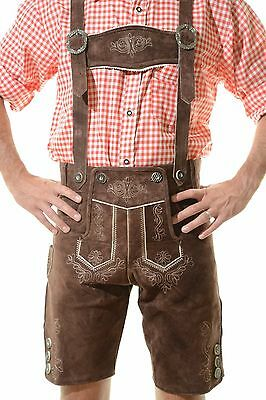 German Bavarian Oktoberfest Lederhosen Shorts German Outfit in DARK BROWN (METL)