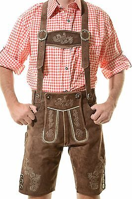 "German Bavarian Oktoberfest Lederhosen German Outfit Dark Brown ""MUNICH"""