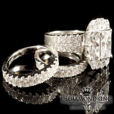 New Ladies .925 Silver Marconia Lab Diamond Bridal Ring Set in White Gold Finish