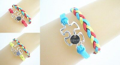 Silver Tone Puzzle Autism With Love charms Suede Braided Bracelet  Select