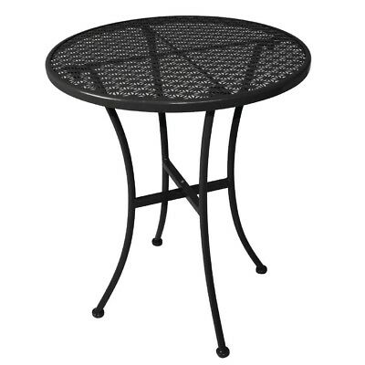 Bolero Black Steel Cast Patterned Round Bistro Table 600mm Restaurant Furniture