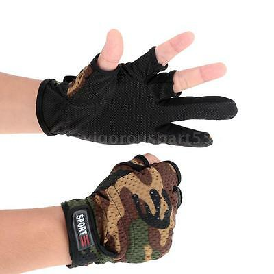 Comfortable Breathable Wear Resistant 3 Low-Cut Fingers Fishing Gloves Q1ZV