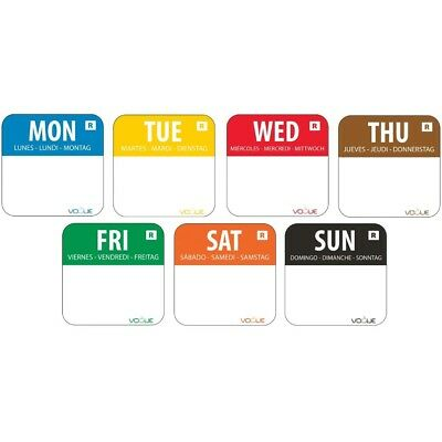 """7000X Vogue Colour Coded 1"""" Day Of The Week Label Kit 24mm Food Adhesive Sticky"""