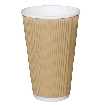 Pack of 500 Fiesta Ripple Wall Disposable Cups Kraft 450ml Corrugated Cardboard
