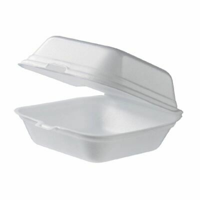 100x Foam Clam Burger Boxes Large Food Takeaway Container Catering Disposables