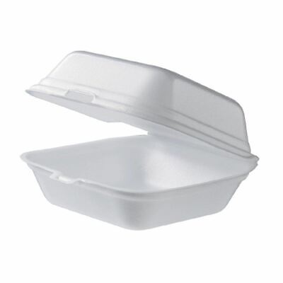 Pack of 100 Foam Clam Burger Boxes Large Takeaway Food Containers