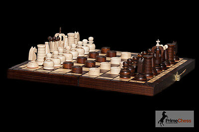 """12"""" Brand New Hand Crafted Wooden Chess And Draughts Set 31x31"""