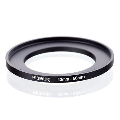 RISE(UK) 43mm-58mm 43-58 mm 43 to 58 Step Up Ring Filter Adapter black