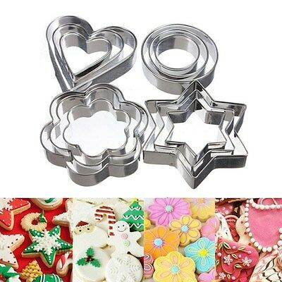 3pcs Stainless Steel Biscuit Pastry Cookie Cutter Cake Decor Baking Mold Tools