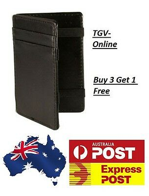 Mens Magic Flip Leather Wallet Ultra Slim Line Credit Card Holder **FREE POST**