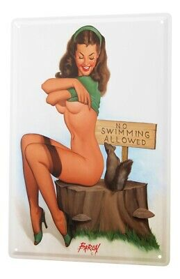 Tin Sign Baron sexy pinup girl undresses front sign NO swimming allowed Vintage