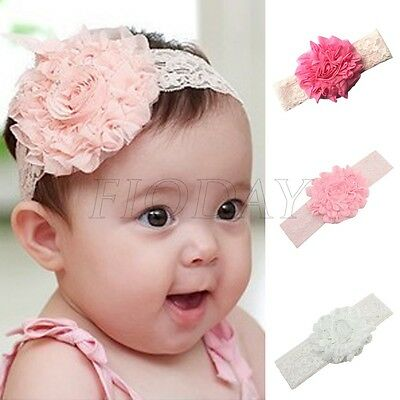 3pcs Girls Kids Baby Lace Flower Headband Hair Band Headwear Toddler Accessories